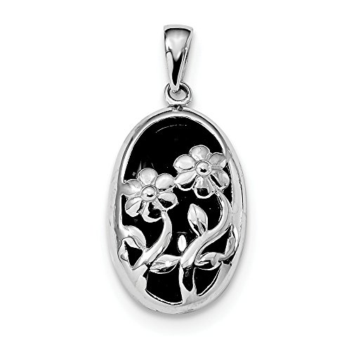 - 925 Sterling Silver Oval Black Onyx Flower Pendant Charm Necklace Gardening Fine Jewelry Gifts For Women For Her
