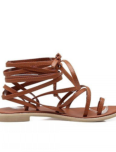 ShangYi Women's Shoes Leatherette Flat Heel Peep Toe Sandals Outdoor / Office & Career / Party Beige Bm6PKg