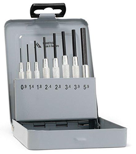 Rennsteig Splintreibersatz (Splinttreiber), 0,9 bis 5,9mm, Führungshülse – CV-Stahl, 8-tlg, in Metallkassette – 4571005 457 100 5