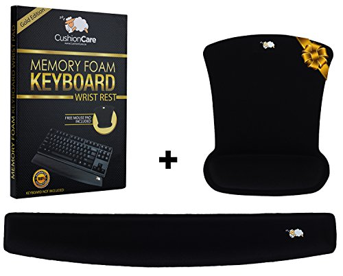 CushionCare Mouse pad & Keyboard Wrist Rest Combo, For Work and Gaming, Made of Premium-Quality Memory Foam, Fits all laptops and personal Computers, Makes typing Easy, (Genius Ergonomic Mouse)
