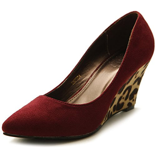 Animal Wedge Print (Ollio Women's Platform Shoe Faux Suede Wedge Multi Color Mid Heel Closed Toe Pump ZM7004(5.5 B(M) US, Burgundy))
