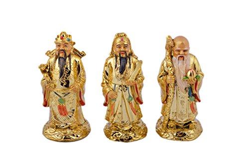 "Feng Shui Golden Fu Lu Shou Three Goddesses Fuk Luk Sau H:5"" W Fengshuisale Red String Bracelet C1037-1"
