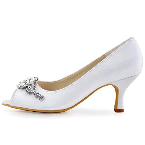 ElegantPark HP1541 Mujer Peep Toe Cristales Rhinestones Clip Hebilla Mid Tacon Saten boda Novia zapatos Blanco