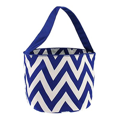 Personalized Childrens Fabric Bucket Tote Bag - Toys- Easter (Personalized, Blue Chevron)