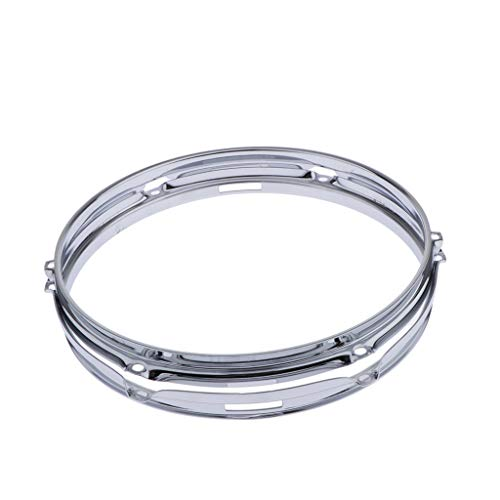 Tom Mount 6 Lug - Almencla 2 Pieces Die Cast Tom Drum Hoops Set 1.5mm Percussion Instrument Parts, 12 Inch 6 Lugs, Silver