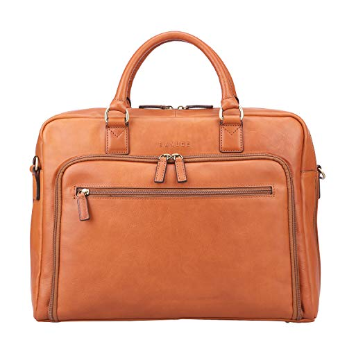 (Banuce Vintage Full Grains Leather Briefcase for Men Attache Case Laptop Messenger Bag)