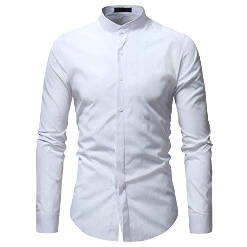 Price comparison product image Anyren Men Shirt Cool Autumn Winter Luxury Long Sleeve Casual Slim Fit Stylish Dress Shirts (White, 3XL)