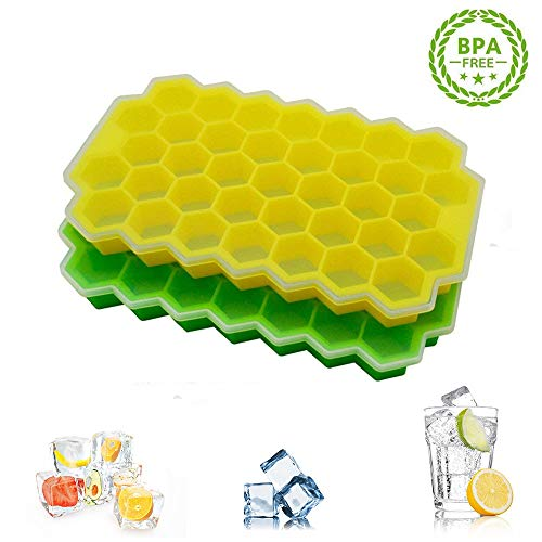 Ice Cube Trays 2Pack, Beyond Honeycomb Ice Cube Molds with Flexible Removable Lid, Stackable BPA Free Silicone Ice Cube Maker, for Whiskey Coffee Fruit Juice and Cocktails, Makes 37 Ice Cubes Each