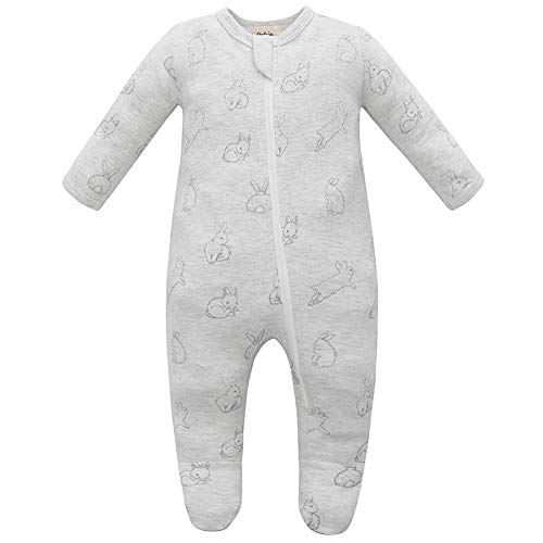 Owlivia Organic Cotton Baby Boy Girl Zip Front Sleep 'N Play, Footed Sleeper, Long Sleeve (Size 0-18 Month)(12-18Months,Gray Rabbit) -