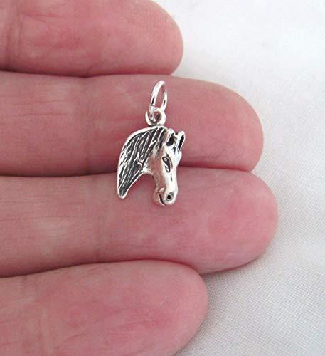 Pendant Jewelry Making/Chain Pendant/Bracelet Pendant Sterling Silver 13mm Horse Head Charm