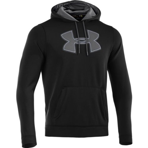 Core Fleece Hoody (Mens Under Armour Fleece Storm Core Big Logo Hoody Black/Graphite Size)