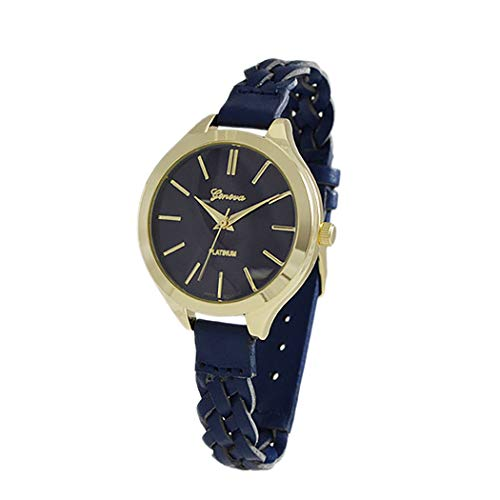 Rosemarie Collections Women's Gold Numbers Wrist Watch Faux Navy Blue Leather Band Fashion Watch