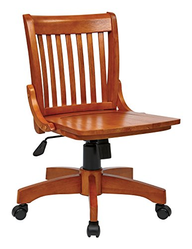 Office Star Deluxe Armless Wood Bankers Desk Chair with Wood Seat, Fruit Wood by Office Star