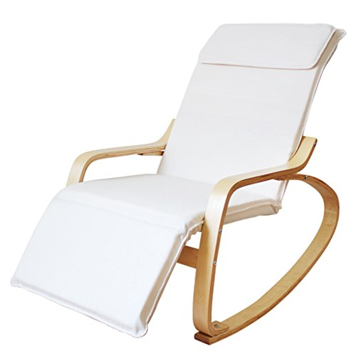 Loungers GJM Shop Rocking Chair Birch + Steel Pipe Cotton Recliners Adult Balcony Leisure Sofa Old Man Siesta Chair Lazy Chair - Red/White 1206687cm (Color : White, Size : 1206687cm)