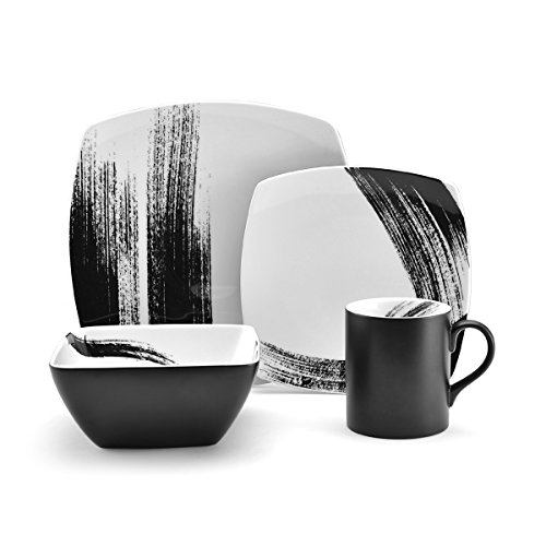 Black Round Souffle - Mikasa Brushstroke Square Porcelain 4-Piece Place Setting, Service for 1