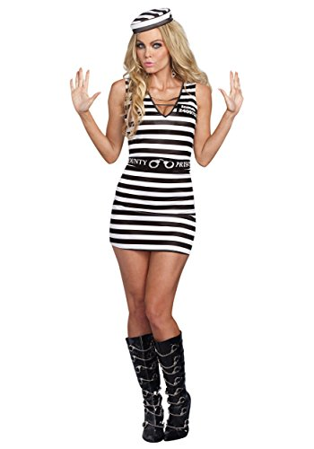 Sexy Jailbird Prison Stripes Dress Convict Prisoner Inmate Costume Adult Women (Jailbird Sexy Costume)