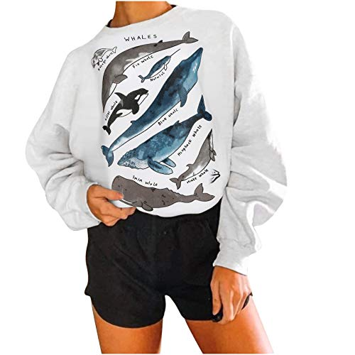 Risaho Damen Gedruckt Langarm lustige Print Sweatshirts, Retro Pullover Langarm Rundhalsausschnitt lose lässige Oberteile für Frauen,Tops,Street Wear