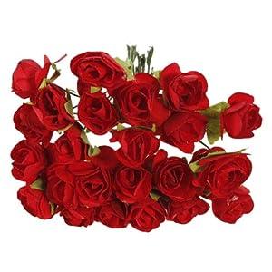 Artificial & Dried Flowers - 144pcs Mini Petite Paper Artificial Rose Buds Flowers Diy Craft Wedding Decor Home Red - Stems Artificial Bulk Bouquets Flowers Rose Petals Buds Heads Wedding 55