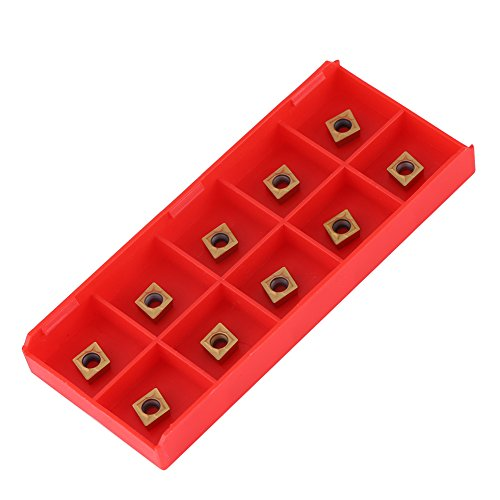 Hartmetall-Wendeeinsätze, 10-teilige CNC-Hartmetallspitzeneinsätze Messerschneiddrehmaschine mit Box, 0,39 x 0,24 x 0,098 Zoll, CNC-Drehmaschineneinsätze