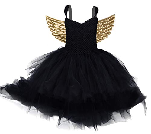 Halloween 80s Rock Star Costumes for Girls High Low Tulle Princess Birthday Wedding Party Dresses with Wings 4T 5T]()