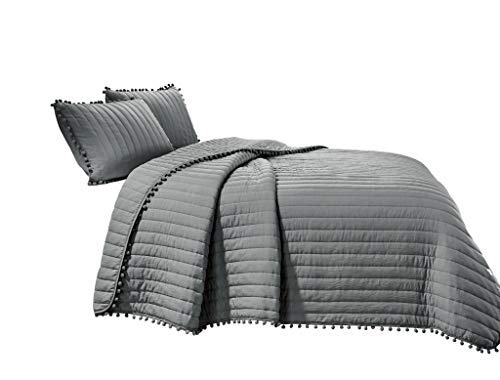 Chezmoi Collection Iris 2-Piece Gray Pom Poms Fringe Channel Quilted Pre-Washed Bedspread Set, Twin -