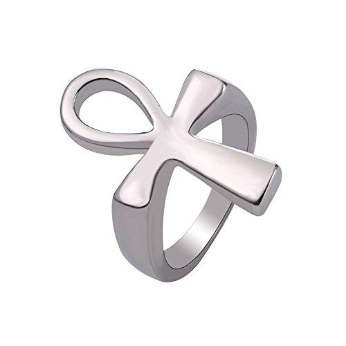 - U7 Men Women Stainless Steel Ancient Egyptian Ankh Cross Ring, Size 12