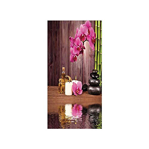 (Ylljy00 Decorative Privacy Window Film/Spa Flower Water Reflection Aromatherapy Bamboo Blossom Candlelight/No-Glue Self Static Cling for Home Bedroom Bathroom Kitchen Office Decor )