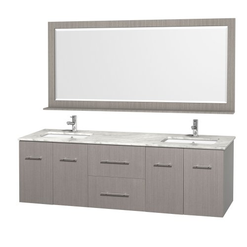 Wyndham Collection Centra 72 inch Double Bathroom Vanity in Grey Oak with White Carrera Top with Square Porcelain Undermount Sinks (Unit Oak Bathroom Sink)