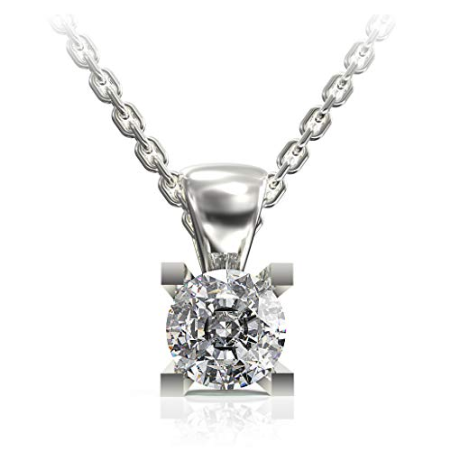 Rhodium Plated .925 Sterling Silver Solitaire Pendant Necklace with 3/4 Carat Round Brilliant-Cut Cubic Zirconia, 18