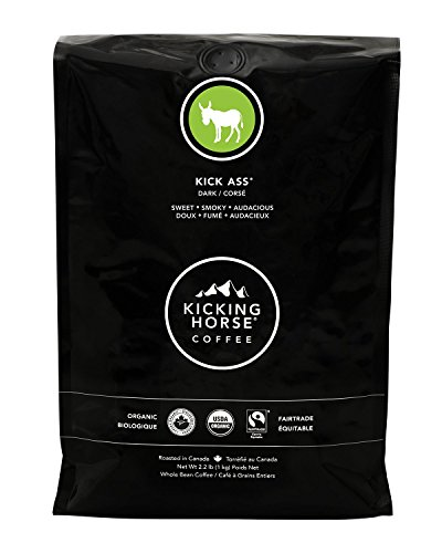 (Kicking Horse Coffee, Kick Ass, Dark Roast, Whole Bean, 2.2 lb - Certified Organic, Fairtrade, Kosher Coffee)