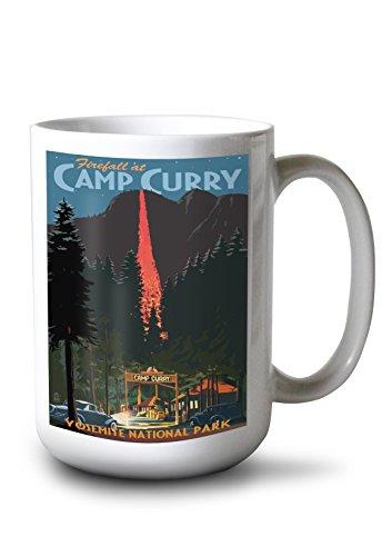Lantern Press Yosemite National Park, California - Firefall and Camp Curry (15oz White Ceramic Mug) ()