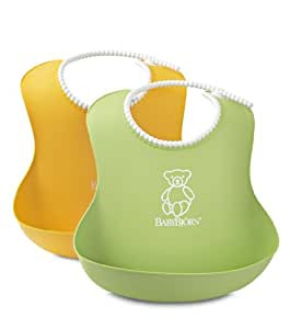 BabyBjörn Waterproof Bibs: Baby Bib, Pocket Bib + Soft Bib that Easily Wipes Clean after Mealtime or Snacktime for Babies + Toddlers - Green/Yellow 2 pack