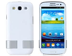 KHE Protective Case with Foldable Stand for Samsung I9300 Galaxy S III (White)