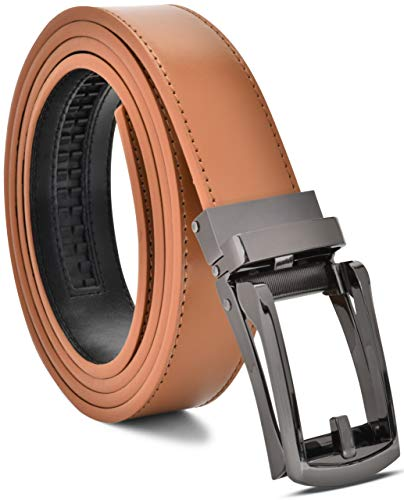 Men's Genuine Leather Ratchet Dress Belt Custom Fit, Automatic Buckle, No Hole (Adjustable From 28