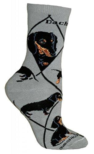 Dachshund Socks - Black Dachshund Socks On Gray 9-11