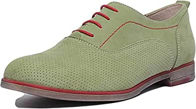 JUSTIN REECE ENGLAND 5000 Lace Up Flat Perforated Derb Green