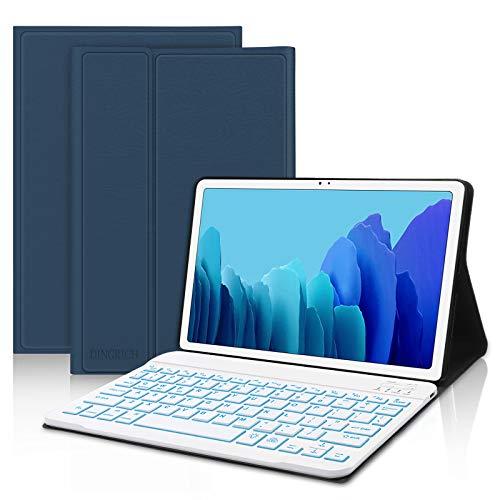 funda + teclado iluminado para samsung tab a7 10.4 azul