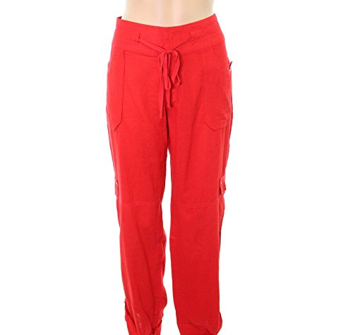 Price comparison product image INC Real Womens Roll-Tab Curvy Cargo Stretch Pants Red 6