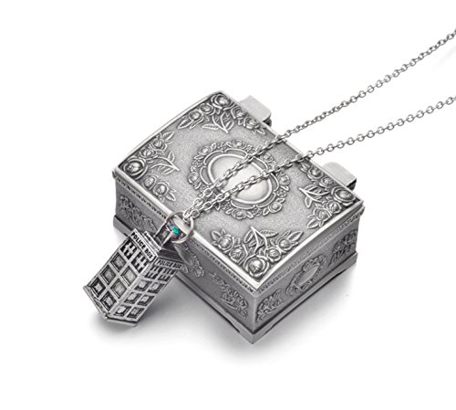 [REINDEAR Doctor Dr. Who TARDIS 3d Police Box Necklace US Seller (SIlvertone Necklace w/ Jewelry Box)] (Dr Who Police Box Costume)