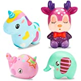 BeYumi Slow Rising Toy, 4 PCS Chromatic Animal Squishy Toys, Kawaii Whale + Sika Deer + Horse + Elephant Cream Scented Simulation Cute Animals Toys for Collection Gift, Decorative Props Large or Stres