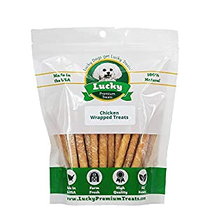 Lucky Premium Treats Chicken Wrapped Rawhide Chews with Real Chicken Breast, All Natural Gluten-Free Dog Treats for…