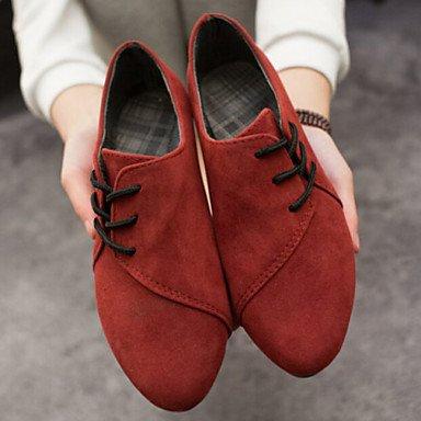 pwne Zapatos De Mujer De Tela Talón Plano Confort Casual Oxfords Toe Redondo Negro / Amarillo / Rojo / Gris US6 / EU36 / UK4 / CN36