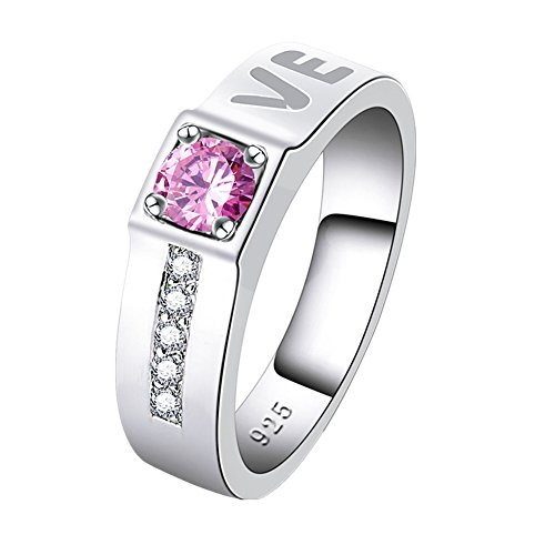 Veunora 925 Sterling Silver Created 4x4mm Pink Topaz Filled Love Band Ring for Women Size 9