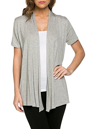12 Ami Basic Solid Short Sleeve Open Front Cardigan Heather Grey 2X