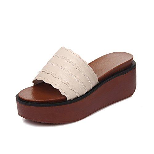 Moda Donna 39 e AJUNR 7cm pantofole ed 38 spessore beige Da versatile Alla di elegante Sandali xZxHEqI