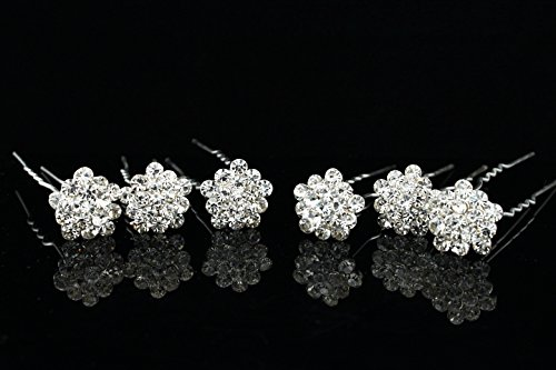 (Set of 6 Star Flower Snowflake Crystal Hair Pins H078 )