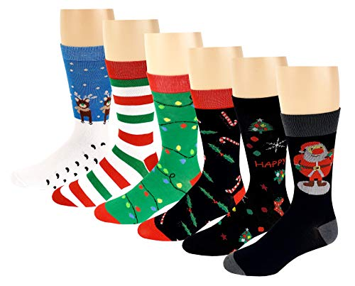 12 Pairs / 6 Pairs Colorful Fashion Design Dress socks 10-13 (6 Pairs Christmas) ()