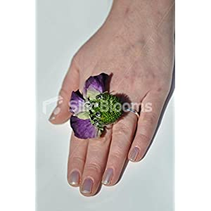 Royal Purple Sweetpea & Lime Green Billy Ball Wedding Ring Corsage 63
