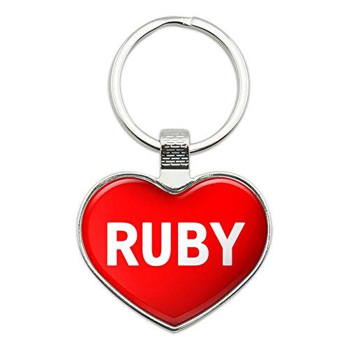 (Metal Keychain Key Chain Ring I Love Heart Names Female R Rose - Ruby)
