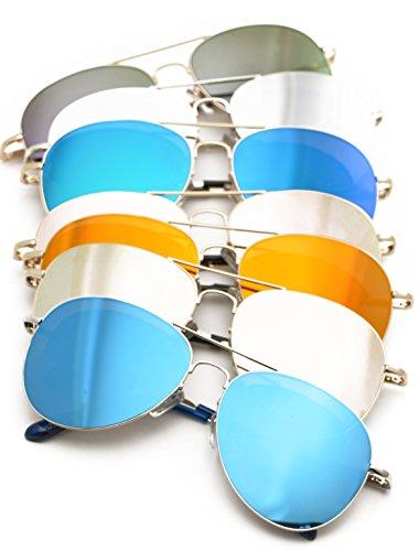 Premium Classic Aviator Mirrored Flat Lens Sunglasses Metal Frame with Spring Hinges